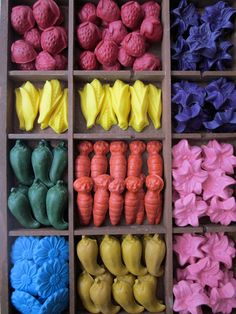 Melt crayons in cool shapes: melt au bain marie in an old can, then pour into mould, let cool