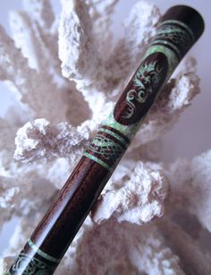 "The ""Princess Eve"" Dragon Hair Stick Featuring African Blackwood Inlaid with Mint Green Fresh Water Pearls by TimberstoneTurnings on Etsy"