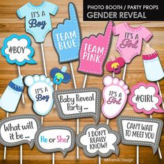 Baby Shower Photo Booth Props Boy Gender Reveal 19 Ideas For 2019 Baby Shower Photo Booth, Photo Booth Party Props, Baby Shower Photos, Baby Shower Fun, Baby Shower Gender Reveal, Girl Shower, Shower Party, Photo Booths, Shower Gifts