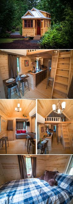 The largest of the tiny houses in the village at 261 sq.ft. The 24' house has a large loft that sleeps three and the downstairs bedroom sleeps two.