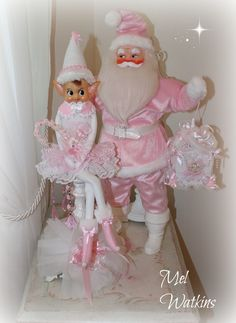 My large vintage Harold Gale santa that we made pink :) <3 and my vintage pink elf <3