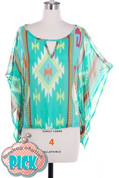 This is our Aztec Print Chiffon Top.  It comes in Jade or Coral Colors.  Our sizes are S-M-L.  This chiffon top features aztec print with a keyhole front.  It is made of 100% Poly.  This is a must have top for $33.00.    So comfortable and cute.....