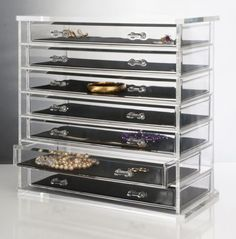 Deluxe 7-drawer Acrylic Jewelry Chest or Cosmetic Organizer with Removable Drawers and Liners | Sparkly Things Jewelry