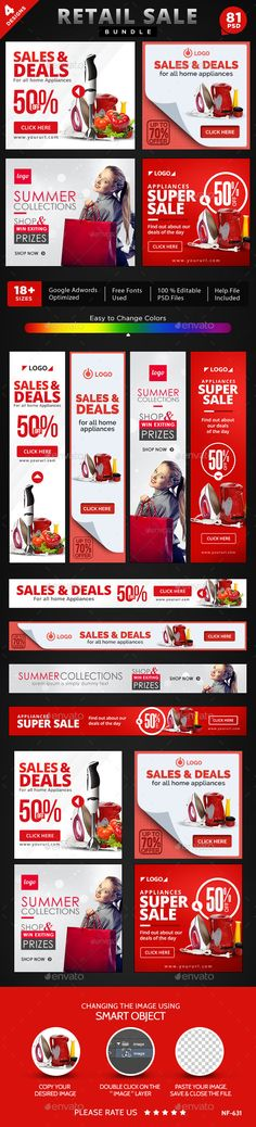 Retail Sale Banners Bundle - 4 Sets, 81 Banners Templates #design #ads Buy Now: http://graphicriver.net/item/retail-sale-banners-bundle-4-sets-81-banners/12877360?ref=ksioks
