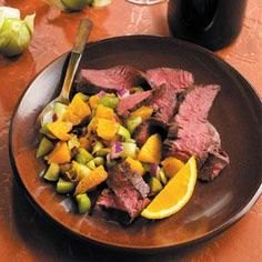 Orange-Chipotle Skirt Steaks Not sure what a skirt steak is but this sounds good.