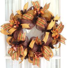 Fall Deco Mesh Wreath with Harvest-Plaid Ribbon