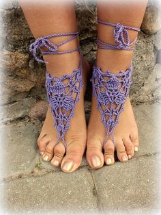 Shop for on Etsy, the place to express your creativity through the buying and selling of handmade and vintage goods. Crochet Barefoot Sandals, Beaded Sandals, Crochet Tunic, Victorian Lace, Nude Shoes, Sexy Toes, Scarf Jewelry, Crochet Woman, Pretty Toes