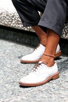 White Wingtip Oxford Shoes
