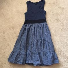 Cute Forever 21 dress Very cute dress. Navy with chambray bottom. Excellent condition. Forever 21 Dresses Midi