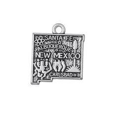 My Shape Zinc Alloy Antique Silver Plated Usa State Map New Mexico Charms For Jewelry Making