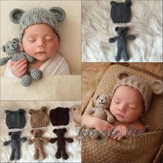 Newborn Baby Girls Boys Toy Bear Crochet Knit Costume Photo Photography Prop 0-3 #Unbranded