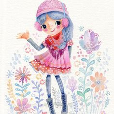 """""""Little Girl WInter"""" Miss Winter lives in a place where frosty flowers bloom even in the snow : ) This is a PRINT of my original watercolor and gel pen, 8"""" x 10"""" 