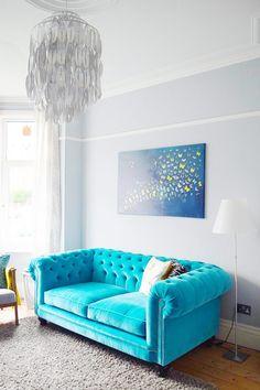 Modern Edwardian Living Room - Turquoise Velvet Chesterfield Sofa - Dulux Steel Symphony Walls