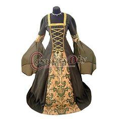 Noblewomen's Elegant Olive Green and Dark Brown Gothic Renaissance Dress Costume  - DeluxeAdultCostumes.com