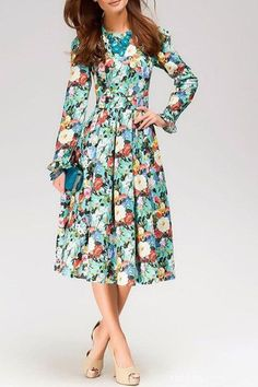 Nice Prom Dresses Vintage Round Neck Long Sleeve Floral Print Women's Prom Dress Check more at http://24shopping.gq/fashion/prom-dresses-vintage-round-neck-long-sleeve-floral-print-womens-prom-dress/
