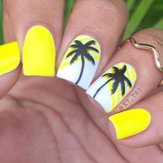 Square Nail Art Idea Nail Art Design Gallery, Best Nail Art Designs, Bright Summer Nails, Spring Nails, Home Design, Tropical Nail Art, Best Nail Polish, Square Nails, Cool Nail Art