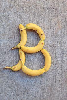 Letter B formed from bananas