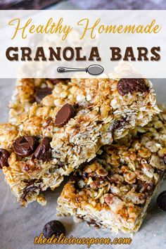 """Soft, chewy and sweet with a little chocolate to entice """"The Littles"""" to take the first bite of these Healthy Homemade Granola Bars. Granola Bar Recipe Easy, Best Granola Bars, Healthy Granola Bars, Chewy Granola Bars, Healthy Work Snacks, Healthy Sweets, Healthy Foods, Healthy Recipes, Breakfast Recipes"""