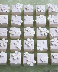 These favors are made using just four different flower punches. Attach them to favor boxes, scatter them on a table, use them on the cover of your programs, or come up with your own creative way to use these pretty paper flowers. Wedding Boxes, Wedding Flowers, Wedding Reception, Reception Ideas, Wedding Ideas, Fabric Flowers, Paper Flowers, Blue Flowers, Wrapping Gift