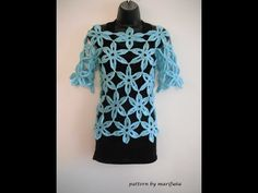 how to crochet flower tunic top sweater free pattern tutorial - YouTube