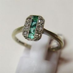 Vintage 1930's Art Deco 18ct Gold and Platinum Emerald and Diamond Ring - Jewellery & Watches - Shop  #VintageJewelry