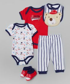 This Buster Brown Navy & Red 'Little Slugger' Bib Set - Infant by Buster Brown is perfect! #zulilyfinds