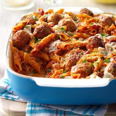 Three-Cheese Meatball Mostaccioli Recipe -When my husband travels for work, I make a special dinner for my kids to keep their minds off missing Daddy. This tasty mostaccioli is meatball magic. —Jennifer Gilbert, Brighton, Michigan