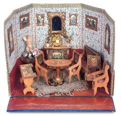 Charming French Miniature Folding Room with Original Furnishings and Accessories by Badeuille Antique Dollhouse, Dollhouse Dolls, Antique Dolls, Vintage Dolls, Dollhouse Miniatures, Old Furniture, Dollhouse Furniture, Ornate Mirror, Miniature Rooms
