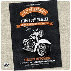 Motorcycle Biker Birthday Invitation Vintage Invite Harley Davidson
