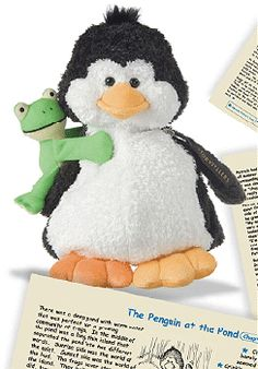 Patrick Penguin is a StoryTeller stuffed animal with 4 stories printed on fabric tucked in his zippered wing pouch.