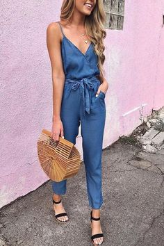 Summer Spaghetti Strap Wrap Top Tie Waist Casual Jumpsuit What do you think is the coolest Women Jumpsuits. Lace Jumpsuit, Jumpsuit Outfit, Casual Jumpsuit, Summer Jumpsuit, Overalls Outfit, Long Overalls, Summer Romper, Striped Jumpsuit, Elegant Woman