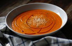 Une soupe aux poivrons rouges qui est absolument délicieuse… On goûte vraiment le poivron et franchement j'aime bien ça