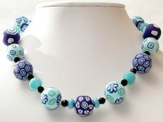 Ketten mittellang - *Madam Fauna* Polymer Clay Lampwork Design Ket... - ein Designerstück von filigran-Design bei DaWanda
