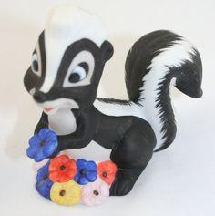 Vintage Disney Bambi Flower Skunk Figurine by DazzleSpace on Etsy