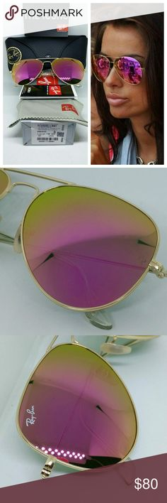 Ray-Ban 3025 112/4T Cyclamen Flash / Hot Pink Only carry 100% Brand New & Authentic Ray Ban Sunglasses.  PRODUCT DETAILS:  Model: RB 3025 Style: aviator/pilot Frame material: metal Frame color: gold Lens material: polycarbonate Lens color: Cyclamen/ Hot Pink( not polarized ) Fit: standard Lens size: 58 Bridge/temple size: 14/135 Protection: 100% U.V. Protection Made in: Italy Retail Price: $200 These pair come with the original retail packaging as seen.   FAST SHIPPING  ! !   SAME DAY IF…