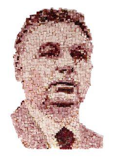 Szép Éva–Csáki László: A miniszterelnök portréja (szalonnamozaik, fotó, keretben 80×60 cm, 2015)