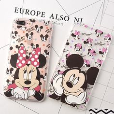Soft Shockproof Clear TPU Fundas Phone Cases for iPhone 6 6S 7 Plus Cute Mickey Minnie Mouse Cover Coque Capas Para