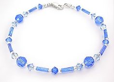 Blue Crystal and Bugle Anklet  sizes 9 to 11 by anklets on Etsy, $16.00