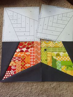 Basket weave star quilt block with template and tutorial.  Paper pieced