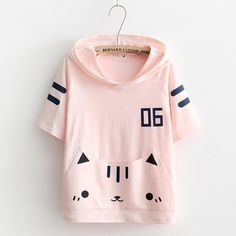 """Pink cat ear hoodie t-shirt SE10296 Use code """"moni"""" for 10% off."""