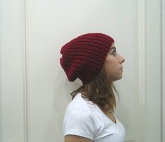 Hand Knitted BURGUNDY red SLOUCHY BEANIE  hat by MARYsworks
