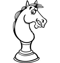 Horse chess cartoon coloring page vector 1668243 - by Igor_Zakowski on VectorStock Cartoon Coloring Pages, Coloring Books, Black And White Cartoon, Diy Crafts To Do, Vintage Diamond, Line Drawing, Vector Free, Clip Art, Horses