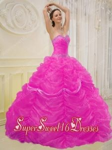 15th Birthday Party Dresses in Hot Pink with Beading and Pick-ups
