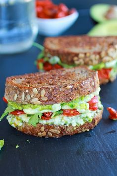 very delicious Blue Cheese and Smashed Avocado and Roasted Tomato Grilled Cheese