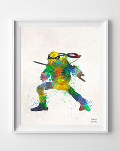 Ninja Turtles Print Watercolor Leonardo Teenage by InkistPrints, $11.95 - Shipping Worldwide! [Click Photo for Details]