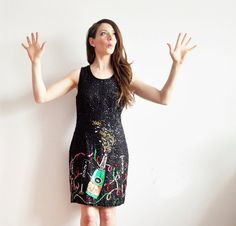theres a champagne bottle on my sequin dress . rare HAPPY by DOTTO http://www.trendfolder.com/ sequin