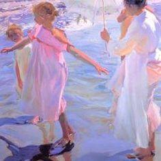 La hora del baño (Sorolla) Se conserva en el Museo Sorolla en Madrid. Pintado en Valencia durante el verano, como en otros cuadros del autor, cobran gran relevancia las sombrillsa que filtran la luz y los colores blancos y azulados.