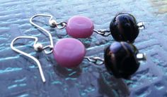Pink and Black Lampwork Glass Bead Earrings by TripIntoLight, $10.00