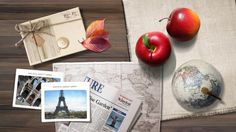 Wallpaper travel, apple, drawings, photographs, table