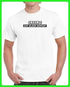 Skiing Eat Sleep Repeat Funny Unisex T Shirt S White - Sports shirts (*Amazon Partner-Link)